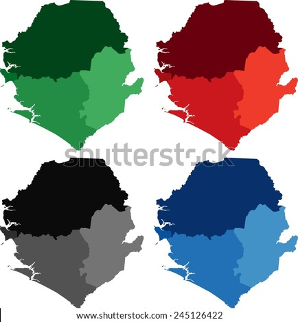 Highly Detailed Sierra Leone Political Map Stock Vector 245126422