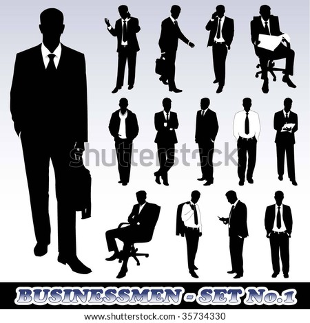 Highly Detailed Silhouettes of Businessmen - stock vector