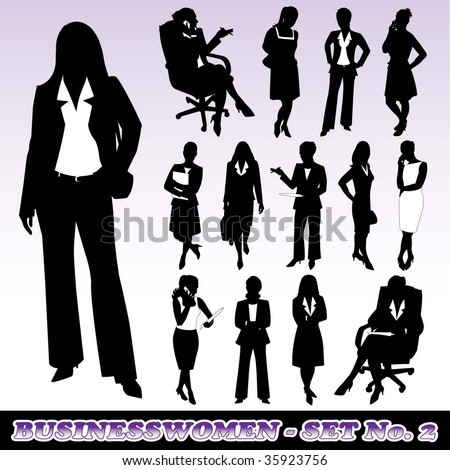 Highly Detailed Silhouettes of Businesswomen - stock vector