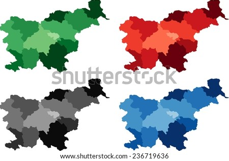 Highly Detailed Slovenia political map in four different color. Isolated, editable. - stock vector