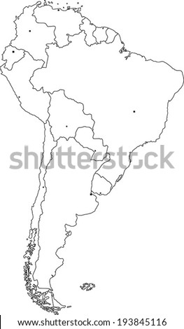 Highly Detailed South America Blind Map With Capital Dots. - stock vector