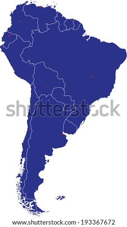 Highly Detailed South America Map Silhouette With Country Capitals. - stock vector