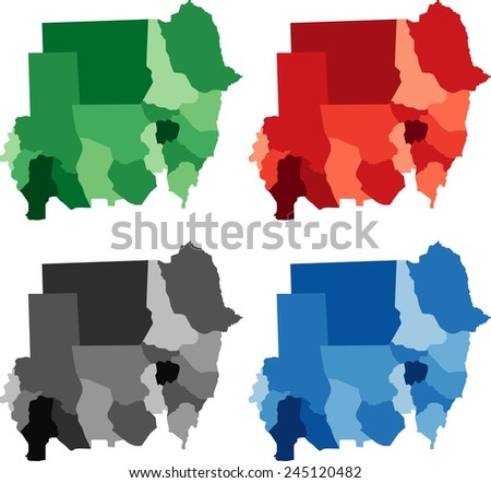 Highly detailed Sudan political map in four different color. Isolated, editable.