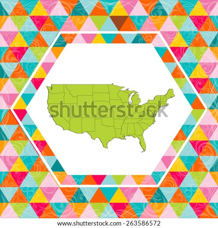 Highly Detailed USA Map with Background - Vector Illustration - stock vector