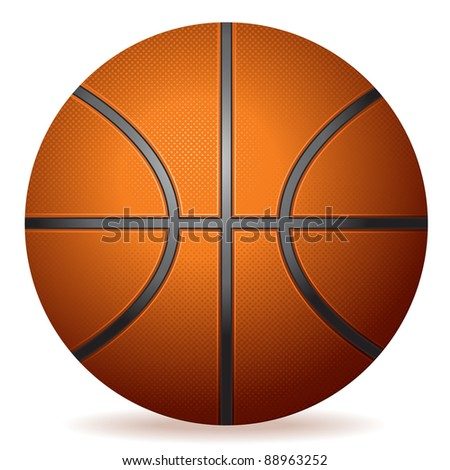 highly detailed vector basketball - stock vector