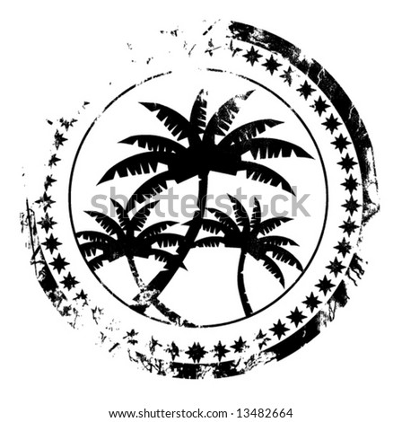 Highly detailed vector grunge postal stamp with palm trees - stock vector