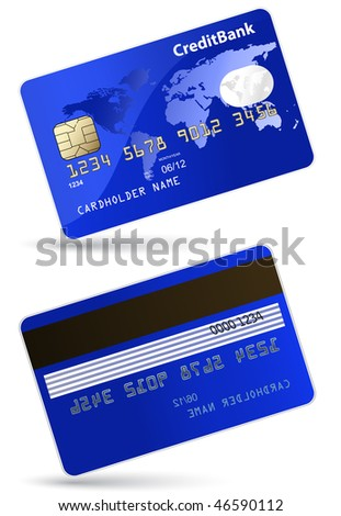 Highly detailed vector illustration of credit card - stock vector