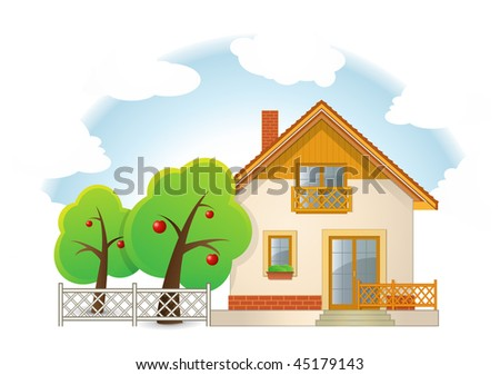 Highly detailed vector illustration of House with Garden - stock vector