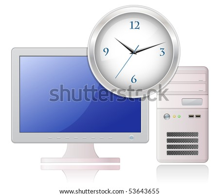 Highly detailed vector illustration of Light Grey Desktop Computer and Office Clock - stock vector