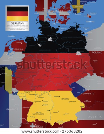 Highly detailed vector map of Germany coloured by national flag and location on world map with other Europe states coloured by national flags. - stock vector