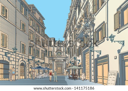 Highly detailed vector sketch of an European town square. Baroque architecture and lively cafe bars. - stock vector