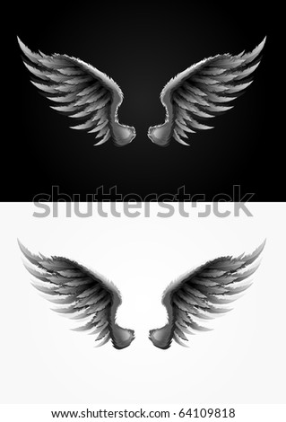 Highly detailed vector wings illustration. One global color used. Easy editable. - stock vector