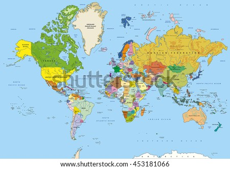 Highly detailed world map with capitals, rivers, separated layers. - stock vector