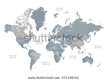 Highly detailed world map labeling grayscale vector de highly detailed world map with labeling grayscale vector illustration gumiabroncs Images