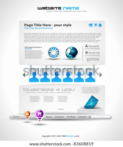 HighTech Website - Elegant Design for Business Presentations with a lot of design elements and a login form.