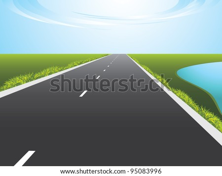Highway along a lake. Vector - stock vector