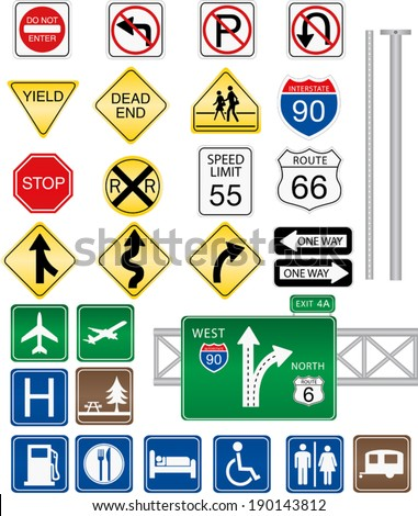 Highway and Road Signs - stock vector