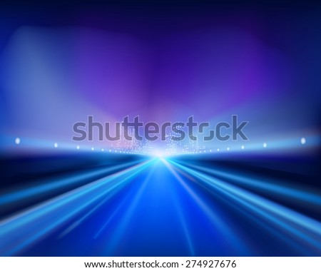 Highway in the night. Vector illustration. - stock vector