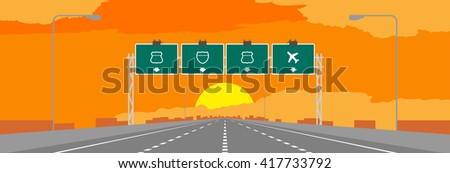 Highway or motorway and green signage in surise, sunset time illustration on orange sky background - stock vector
