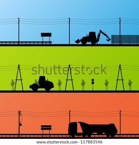 Highway roadway construction site roadwork landscape and heavy duty trucks and tractors detailed silhouettes illustration collection background vector - stock vector