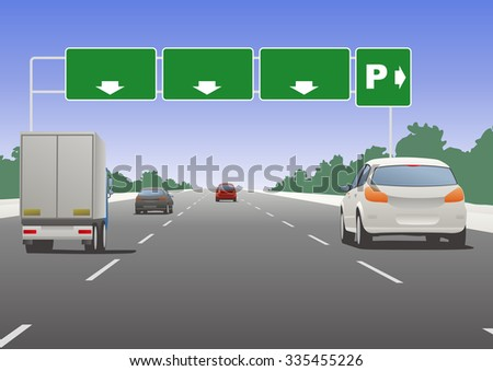 Highway sign and vehicles, vector illustration - stock vector