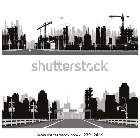 Highway silhouette .City skyline - stock vector