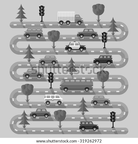Highway with vehicles. Flat design. Vector illustration. - stock vector