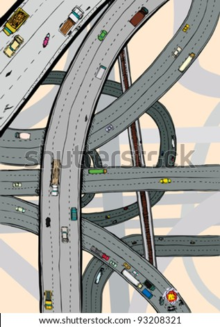 Highways and junctions with cars, trucks and railroad tracks - stock vector