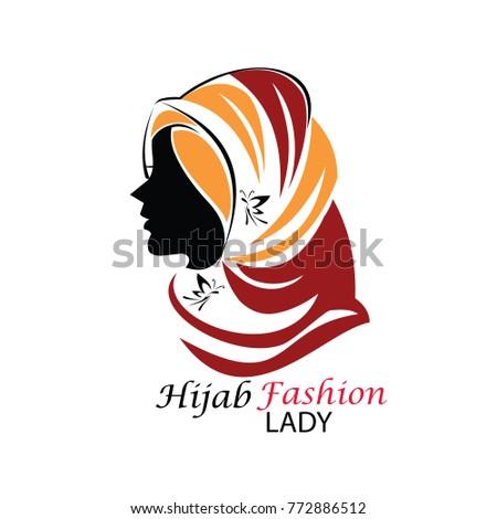 hijab logo template hijab logotype isolated stock vector