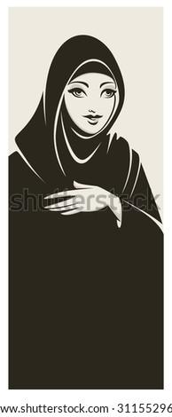 hijab style, beautiful arabic muslim woman - stock vector