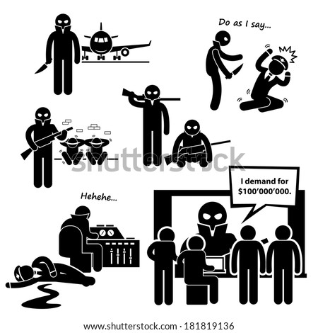 Hijacker Terrorist Airplane Stick Figure Pictogram Icon Clipart - stock vector