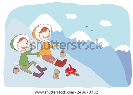 hiker at the top of mountain enjoy sunny day and drink hot coffee. - stock vector