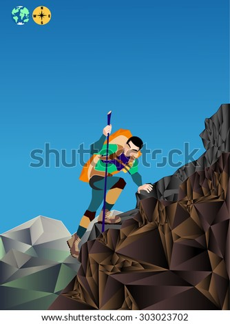 hiker on a top of a mountain low poly vector - stock vector
