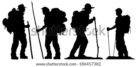 hiker silhouettes on the white background - stock vector
