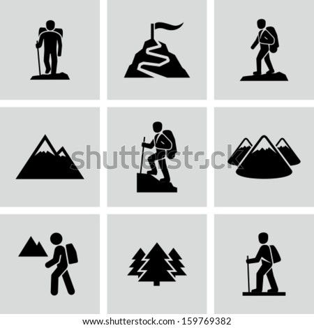 Hiking - stock vector