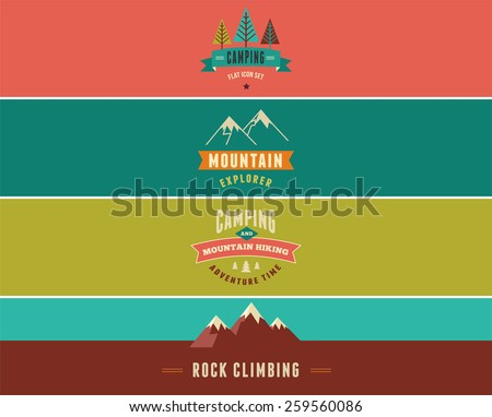 Hiking and camping banners, backgrounds - stock vector