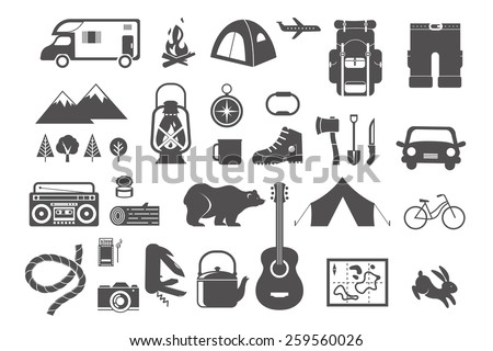 Hiking and camping - set of vintage icons, elements - stock vector