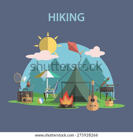 Hiking and outdoor recreation concept with flat camping travel icons vector illustration - stock vector