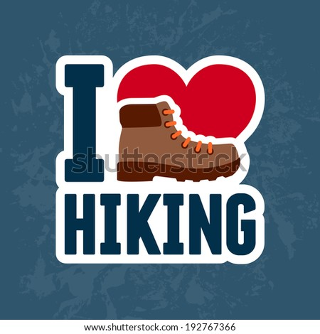 Hiking boot sticker graphic design emblem - stock vector