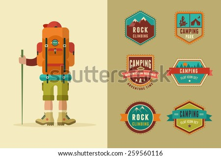 Hiking, camp badges - set of icons and elements. Vector poster with backpacker  - stock vector