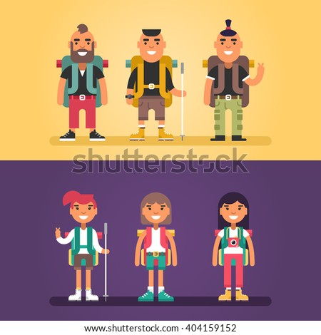 Hiking Concept. Set of Flat Style Cartoon Characters. Young Men and Women with Backpack and Stick for Hiking