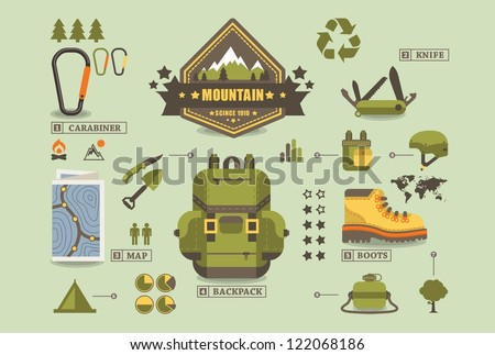 hiking equipment info graphics,mountain icons, - stock vector
