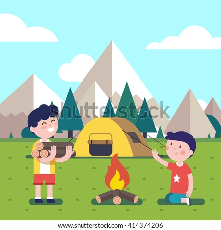 Hiking kids at the campfire near their camping tent at the mountain foots. Boy brings some firewood at the bonfire. Modern flat style vector illustration. Cartoon character clipart. - stock vector