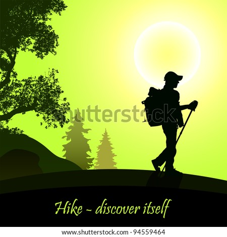 Hiking man with rucksack - stock vector