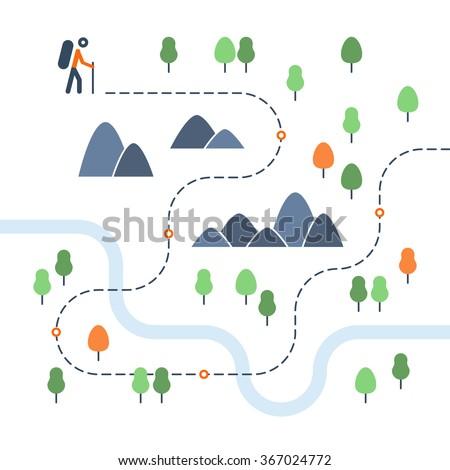 Hiking map, sport orienteering in cross country - stock vector