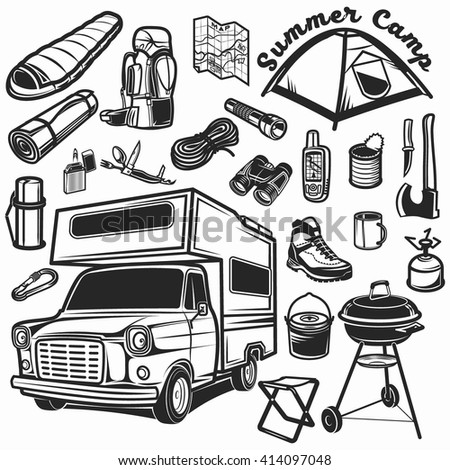 Hiking mountain climbing camping car equipment stock vector royalty hiking mountain climbing and camping car equipment icon set malvernweather Image collections