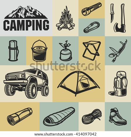 Hiking, mountain climbing and camping equipment  - icon set a