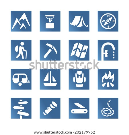 Hiking set icons tiles - stock vector