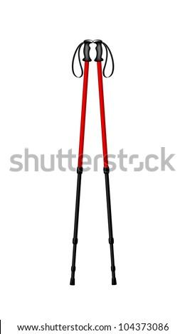 Hiking (walking) poles - stock vector