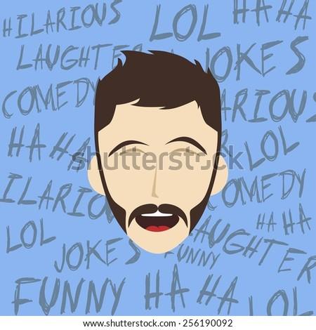 hilarious laughing man illustration - cartoon character - stock vector